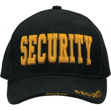 Rothco-9490 DELUXE LOW PROFILE CAP BLK W-GOLD - SECURITY